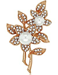Spargz Floral Design Party Wear Gold Plated Color Alloy Brooch For Women AISAP 029