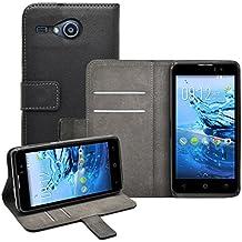 Membrane - Negro Cartera Funda Carcasa para Acer Liquid Z520 - Wallet Case Cover + 2 Protector de Pantalla