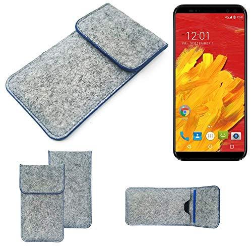 K-S-Trade® Filz Schutz Hülle Für -M-Horse Pure 3- Schutzhülle Filztasche Pouch Tasche Case Sleeve Handyhülle Filzhülle Hellgrau, Blauer Rand