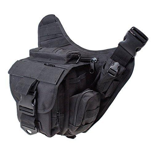 Yihya Multifunktionale Nylon e Tasche Schulter Umhängetasche Überfall Rucksack für Outdoor Sports Abenteuer Klettern & Reiten Reisetasche --- Schwarz Fernglas Geldbörse