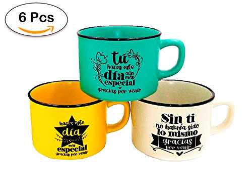 """Lote de 6 Tazas con Frases """"GRACIAS POR VENIR"""" (Precio Unitario) - Tazas Originales y Baratas para Detalles de Bodas, Bautizos y Comuniones. Tazas para regalar en Bodas Comprar Online en Amazon"""