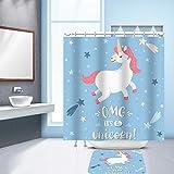 Nibesser Einhorn Dicker Duschvorhang 100g/m² Anti-Schimmel Waschbarer Textil Badewannenvorhang Digitaldruck inkl. 12 Hacken Bad Vorhang für Badezimmer (150cmx180cm)