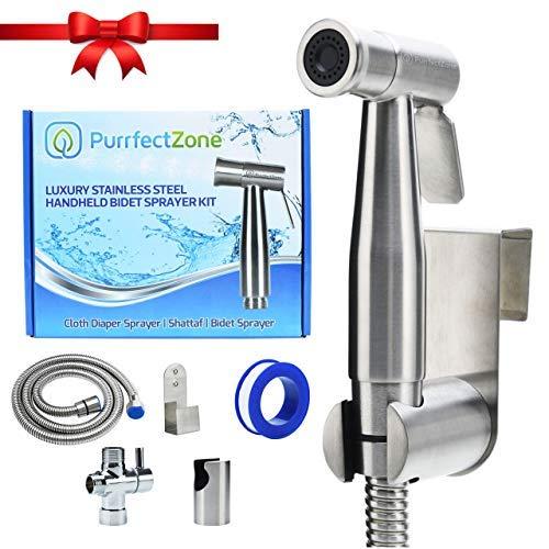 PurrfectZone Luxus Bidet Sprayer Set - Baby Tuch Windel Sprayer - Handheld Muslim Shattaf Kit - Premium Edelstahl & Messing T-Adapter - Low to High Water Spray, Wand oder WC Halterung