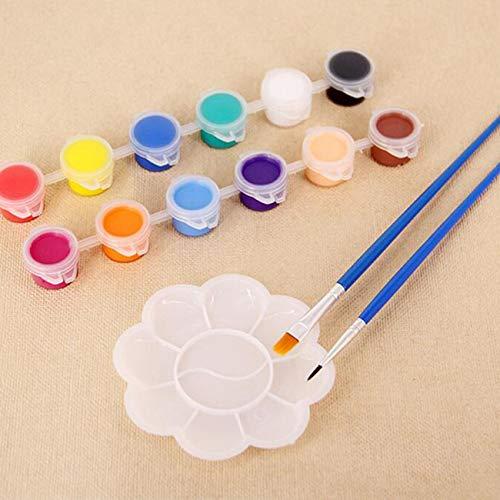 Pittura acrilica per bambini pittura fai da te graffiti pittura gesso colorata aquilone colore pittura acrilica pigmento acrilico + pennello + piatto-colorato-1 taglia