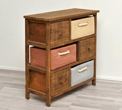 Mobiletto in stile rustico con cassettiere e cestini per il bagno ...