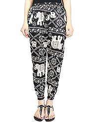 las Mujer Harem Pantalones del Estampado Floral Bohemia pantalones ocasionales del verano de playa S 15