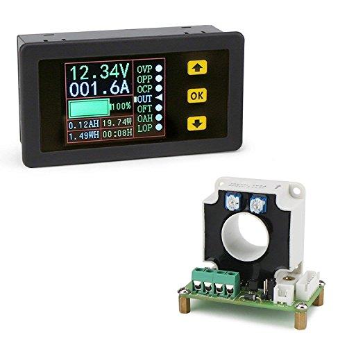 Droking Misuratore Digitale Multifunzione, 0-100 A 10-90V Tensione Corrente capacità Elettricità Monitor Multimetro Carica Batteria Tester Batteria con Schermo a Colori LCD