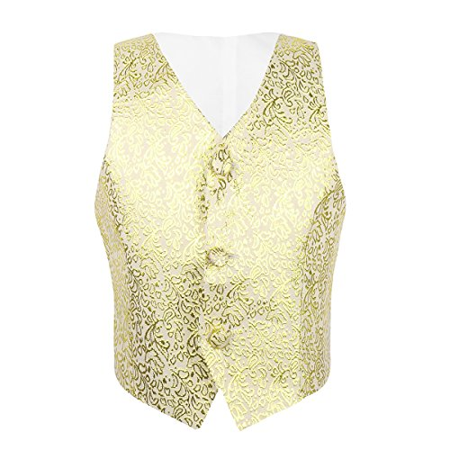 Tiaobug Kinder Jungen Anzug Weste festlich Anzugweste Hochzeit Gentleman kariert Weste Causual Anzug Vintage Bekleidung 92-164 Gold 110-116(Herstellergröße: 110)