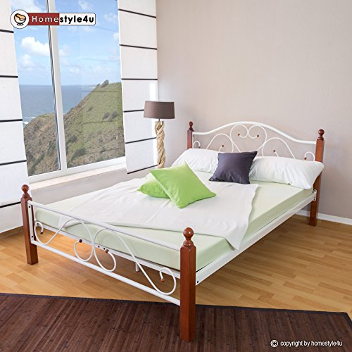 Homestyle4u Metallbett 180 x 200 Bettgestell Doppelbett Bettrahmen + Lattenrost 815 weiß
