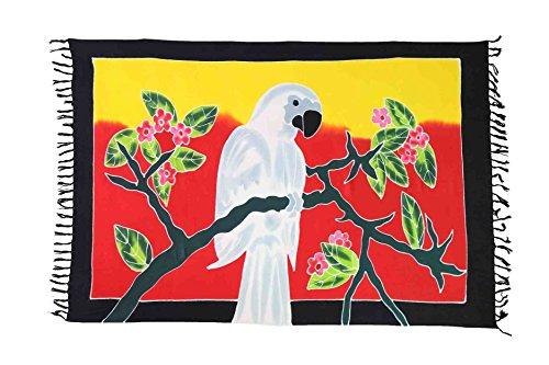Sarong Pareo Wickelrock Strandtuch Tuch Schal Wickelkleid Strandkleid Blickdicht Chile - Papagei Weiß