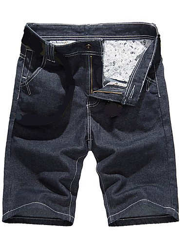 Herren Einfach Chinoiserie Mittlere Hüfthöhe Jeans Kurze Hosen Gerade Hose einfarbig Blue