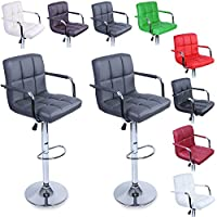 TRESKO 2 x Bar Stools Set with Backrest and Armrest | Leatherette Exterior | Height Adjustable and Adjustable Swivel Gas Lift | Chrome Footrest | for Bar, Counter, Kitchen and Home (Grey)