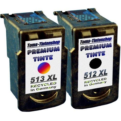 2 Patronen für Canon PG 512 und CL 513 für Pixma Drucker IP 2700, IP 2702, MP 240, MP 250, MP 260, MP 270, MP 280, MP 480, MP 490, MP 492, MP 495, MX 320, MX 330, MX 340, MX 350, MX 360, MX 410, MX 420