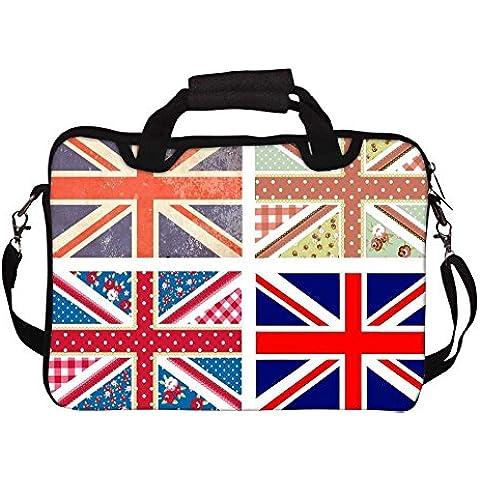 Snoogg 4Simpatici Bandiere Britanniche In Stile Shabby Chic, motivo floreale stampato, stile Vintage con Tracolla Laptop 15A 15.6