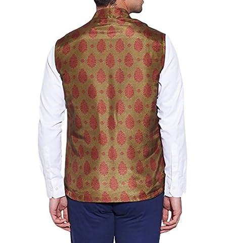 ShalinIndia Hommes numérique Imprimé Soie de faux Veste col Nehru 3 Poche avant, M-DNJ48-1311, Olive, (Tasche Collare)