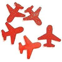 Konfetti Flugzeug rot glitter - Dekoration Reise (handgemacht Konfetti)