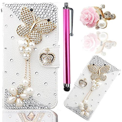 Vandot 3 in1 Esclusivo 3D DIY Case Cover per Samsung Galaxy S7 Edge 5,5 Pollici PU Pelle Portafoglio Wallet Bag Magnete Snap-on Custodia di Silicone Housing Shell - Farfalla Tassel + Cristallo Strass Fairy Angelo Girl Anti-Dust Spina con Metallo Rosa Stylus Stilo