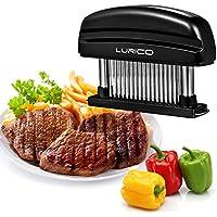 LURICO Ablandador de Carne Manual Pollo con 48 cuchillas de acero Asado Barbacoa BBQ Para La Carne De Vacuno, Carne, Pollo, Cerdo y Ternera (Negro)