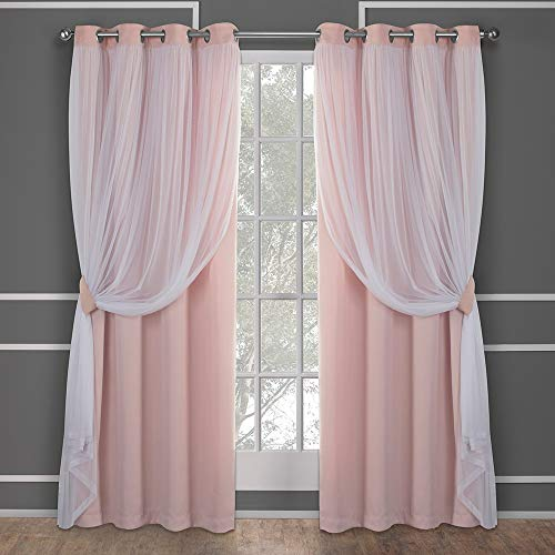 Exklusive Home Catarina geschichteter massiver Verdunkelungsvorhang und durchsichtiger Fenster-Vorhang mit Tülle Oben, Polyester, Polyester, Rose Blush, 84 x 52 x 0.2 cm (84 Tülle Oben Vorhänge)