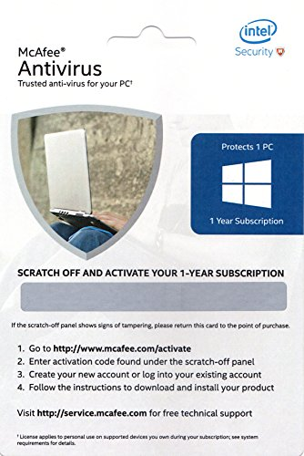 McAfee Anti-Virus - 1 PC, 1 Year (Activation Key Card)
