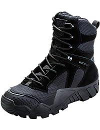 FREE SOLDIER Hombres Militares High-Top Zapatos táctico Senderismo Botas Cordones Trabajo Combate Todos los terrenos Botas Resistente al Agua 3 Colores, Negro, 46 EU