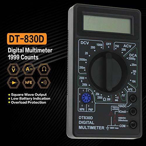 DT-830D Mini-Tasche Digitalmultimeter 1999 zählt AC/DC Volt Amp Ohm-Diode HFE Durchgangsprüfer Amperemeter Voltmeter Ohmmeter (Farbe: Schwarz)