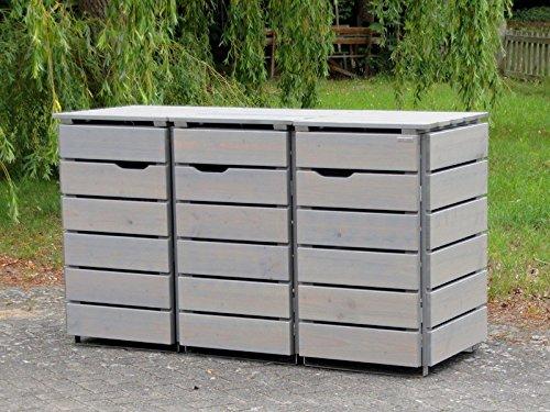 3er Mülltonnenbox / Mülltonnenverkleidung 120 L Holz, Transparent Geölt Grau - 2