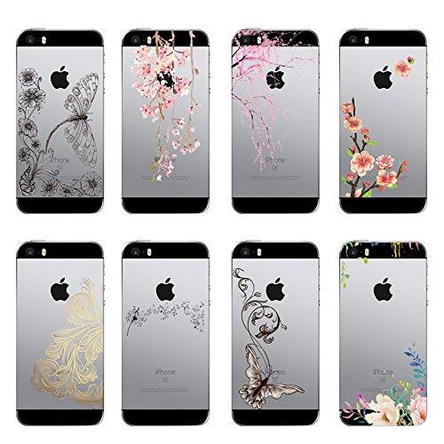 Qissy®TPU Case für iPhone 5 5S SE -Silikon-Hülle Soft Shell-Fall-Schutz Anti Shock Silikon Anti-Staub-beständig Leichtes Painted Große Sammlung Panda Blumen-Rebe (iPhone 5 5S SE, 2) 16