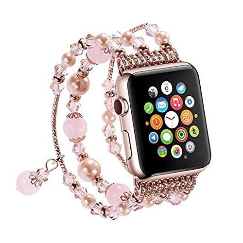 Armband für Mode Sport Perlen Armband Watch Strap Band Uhrband Ersatz für Apple Watch 1/2/3 38mm (A) (8)