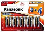 Panasonic Blister 10 Batterie Stilo AA Alcaline LR6 Pro Power