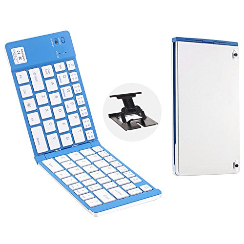Price comparison product image RSPrime Portable Universal Folding Bluetooth Keyboard Wireless Double Foldable Fold Mini Keyboard Pocket Size Ultra Compact Slim ABS 66 Key Keyboard Aluminum Alloy for IOS Android Windows IPad Mini Tablet PC (Silver + Blue)