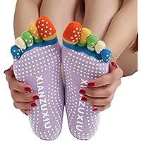 Five Season Yoga Massage Socks Sport Socks Non Slip Five Toe Design for Women-Purple