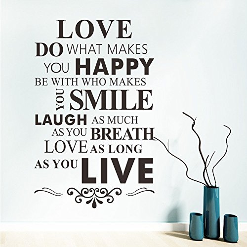 Love Do What Makes You Happy Zitat Inspiration Wandtattoo 86,4x 55,9cm