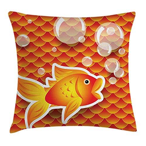 Jxrodekz Orange Dekor Dekokissen Kissenbezug, kleine Goldfische im Gespräch mit Blasen zufällige Jakobsmuschel Muster dekorative HomeBurnt Orange
