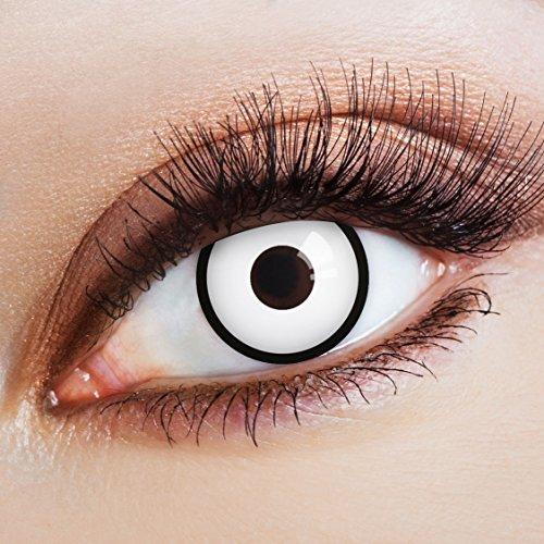 aricona Kontaktlinsen Farblinsen weiße Kontaktlinsen Zombie Kostüm Halloween Make-up Gothic (Make-up Halloween Für Goth)