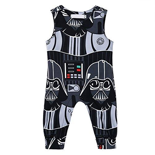 (Tiaobug Baby Junge Strampler Latzhose Overalls Kurzarm mit Aufdruck Krieg der Sterne Säugling Spielanzug Baby Bekleidung Outfits Schwarz 62/0-3 Monate)