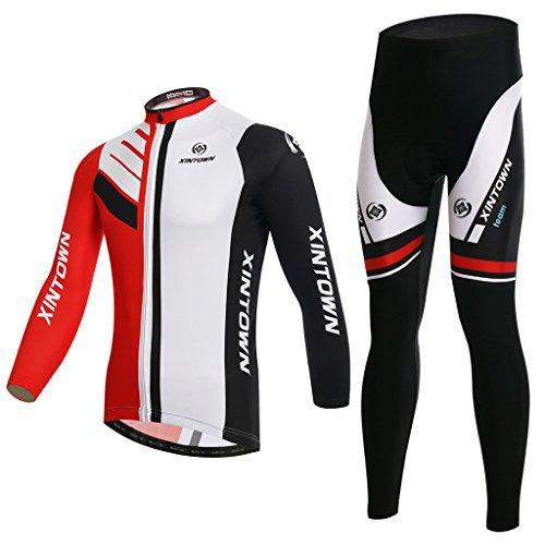 Fahrradbekleidung, Skysper® Gemütlich Radtrikot Set - Lange Ärmel Radtrikot + Lang Fahrradhose im Winter