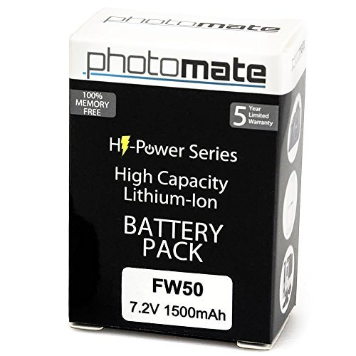PhotoMate NP-FW50 FW50 Ultra High Capacity Rechargeable Battery Pack (1500mAh) for Sony Alpha A7 A7 II A7r A7s A3000 A3500 A5000 A5100 A6000 NEX-7 NEX7 NEX-6 NEX6 NEX-5 NEX5 NEX-3 NEX3 NEX-5R NEX5R NEX-5T NEX5T NEX-5N NEX5N NEX-3N NEX3N NEX-F3 NEXF3 NEX-C3 NEXC3 NEX-C5 NEXC5 SLT-A33 SLTA33 SLT-A37 SLTA37 SLT-A55 SLTA55 DSC-RX10 DSCRX10 DSLR Digital Camera  available at amazon for Rs.2674