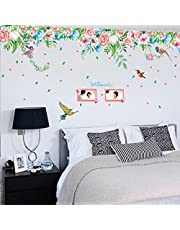Oren Empower Beautiful Unique Color Flowers and Flying Birds Nature Wall Stickers (Finished Size on Wall - 170(w) x 55(h) cm)