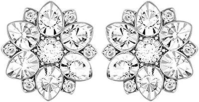 Swarovski–Pendientes de mujer rodio cristal transparente 1cm–5112144