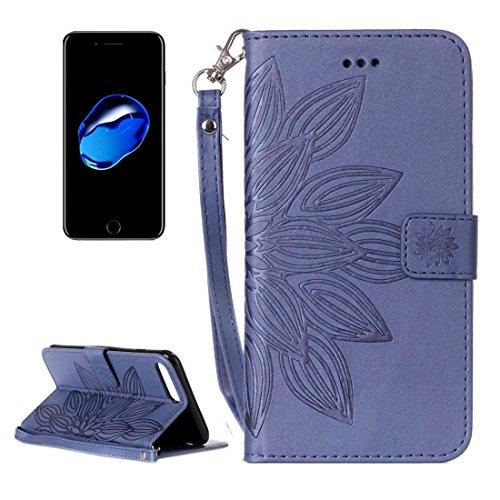 GHC Cases & Covers, Für iPhone 7 Plus Crazy Horse Texture Half Flower Printing Horizontale Flip Leder Tasche mit Halter & Card Slots & Wallet & Lanyard ( Color : Brown ) Dark blue
