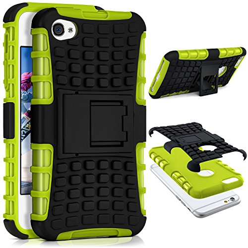 iPhone 4S Hülle Silikon Hard-Case Grün [OneFlow Outdoor Back-Cover] Extrem Stoßfest Schutzhülle Grip Handyhülle für iPhone 4/4S Case Rückseite Tasche LIME