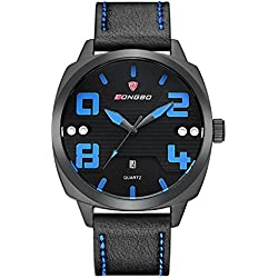LONGBO Sportive Mens Unique Black Leather Band Military Big Face Watches Blue Hands Black Dial Auto Date Calendar Wristwatches Waterproof Business Analog Quartz Watch For Man
