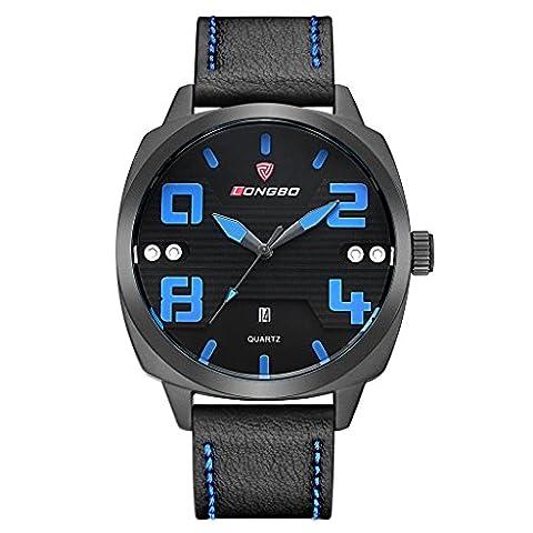 Longbo sportive pour homme Noir Unique Bande de cuir militaire Big Face montres Bleu mains Cadran noir Date automatique Calendrier stabilité étanche Entreprise montre à quartz analogique pour homme