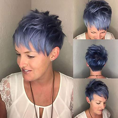 SSUDADY Damen Perücken Mode Ombre Kurz Haare Volle Flauschig Perücke mit Pony Blau Natürlich Synthetische Hitzebeständige Wig für Karneval Cosplay Party Fasching Kostüm Halloween