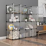 #3: GoldenCart DIY Multi-use Book Shelf Storage 16 LARGE CUBES with DOORS, Bookcase, Toys Rack, Clothes Organizer, Cabinet Media with Doors for Dust protection (16 Translucent Cubes with HUGE Storage Capacity)
