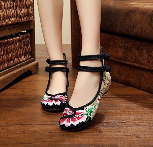 Y&M Feine bestickte Schuhe, Sehnensohle, ethnischer Stil, weibliche Schuhe, Mode, bequeme, tanzende Schuhe Black