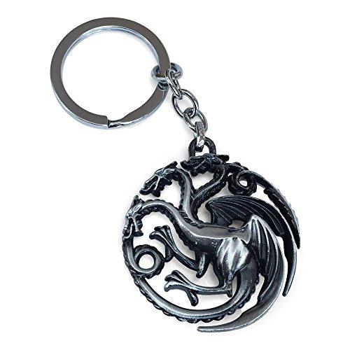 Game Of Thrones 3 dirigieron el dragón llaveros. Plata