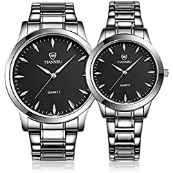 Valentine's Day Gifts, Hansee Lovers' Watches, Stainless Steel Band, 2 Pcs Fashionable Waterproof Quartz Watch(Black)