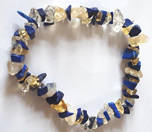 Schöne Handarbeit Lapis Lazuli, Bergkristall klar & Citrin Heilstein Armband